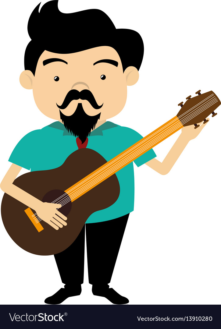 Colorful silhouette singer with acoustic guitar