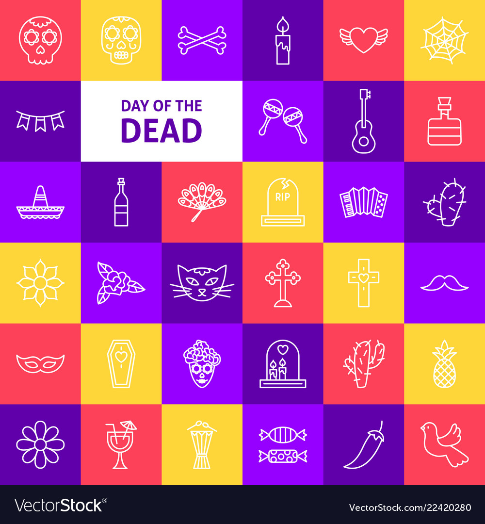Day of the dead line icons