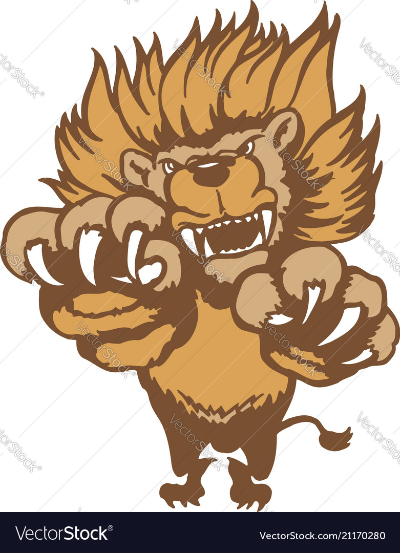 Fully editable of a roaring cartoon lion