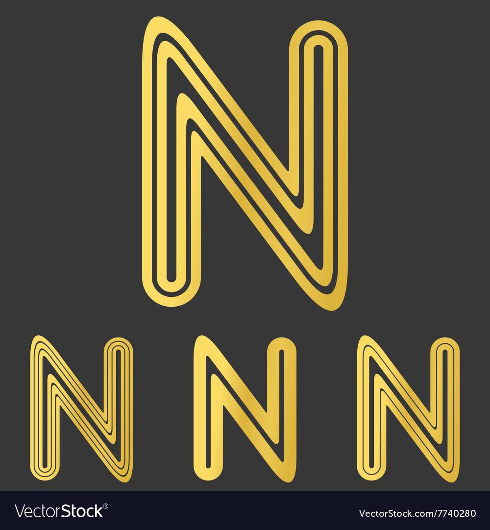 Golden line n logo design set