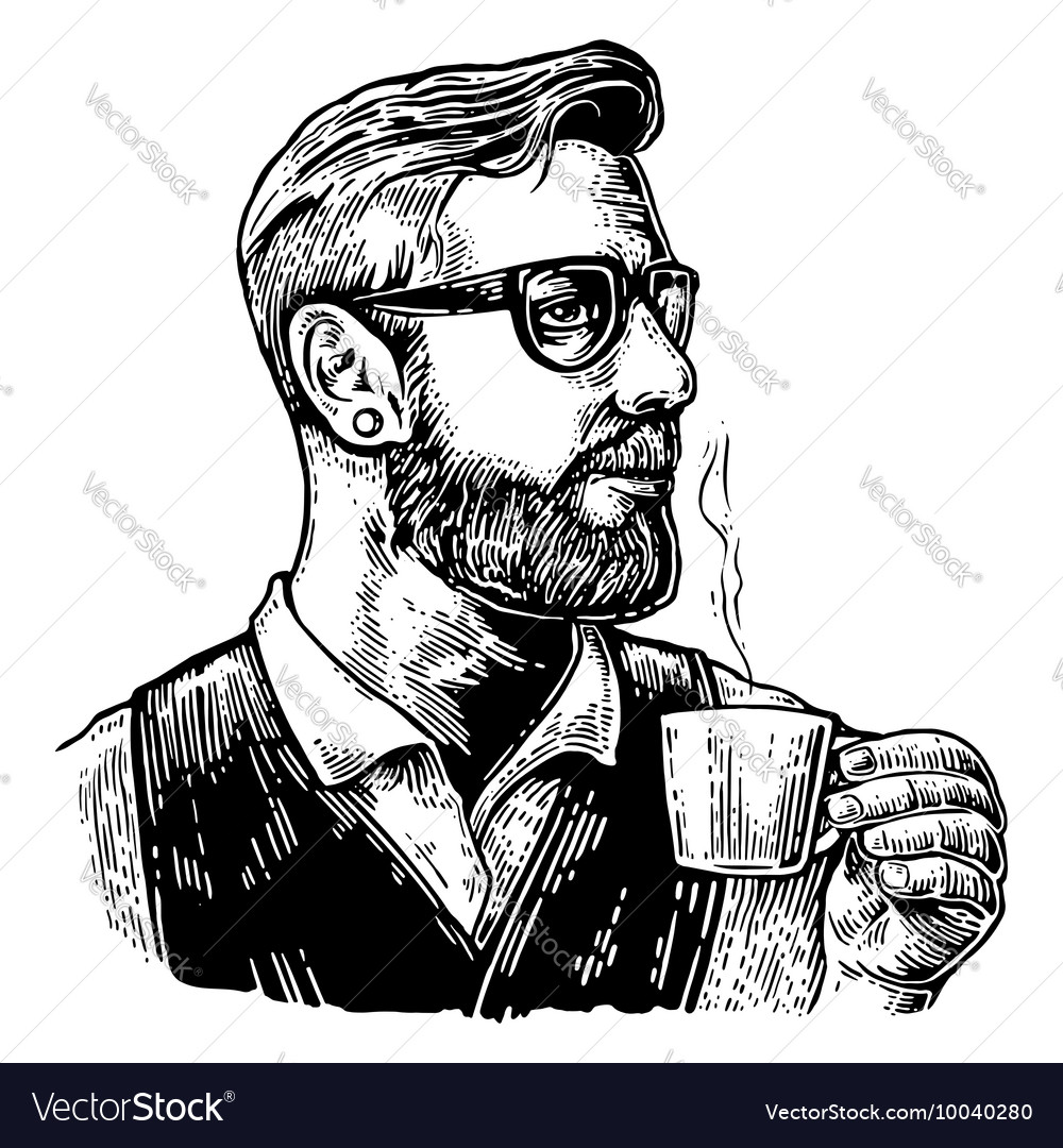 Hipster barista with the beard holding a cup of