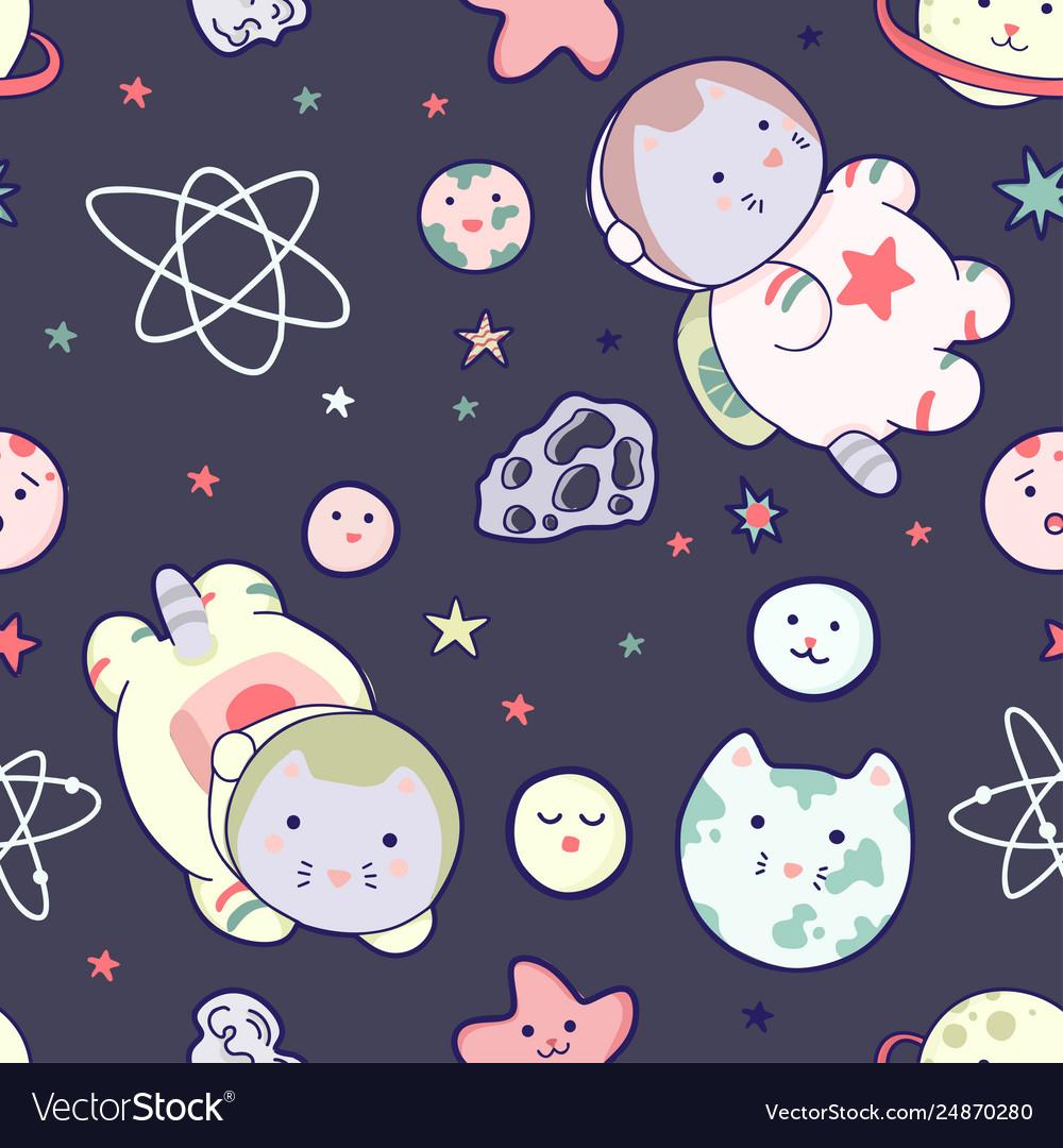 Kawaii cat astronaut in space seamless pattern