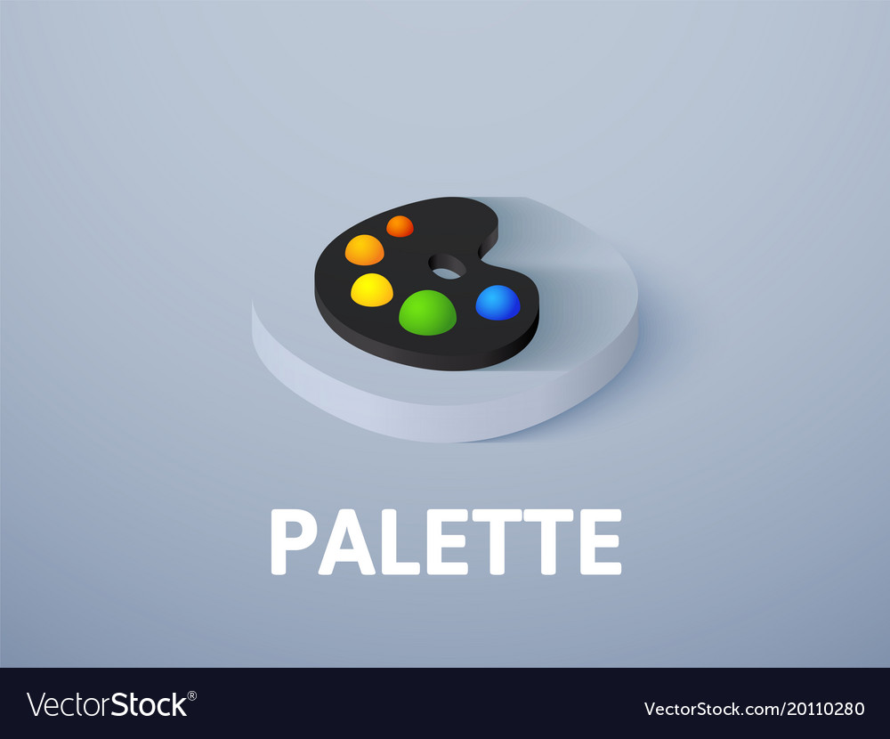 Palette isometric icon isolated on color