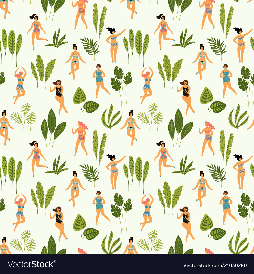 Seamless pattern with dancing ladyes in