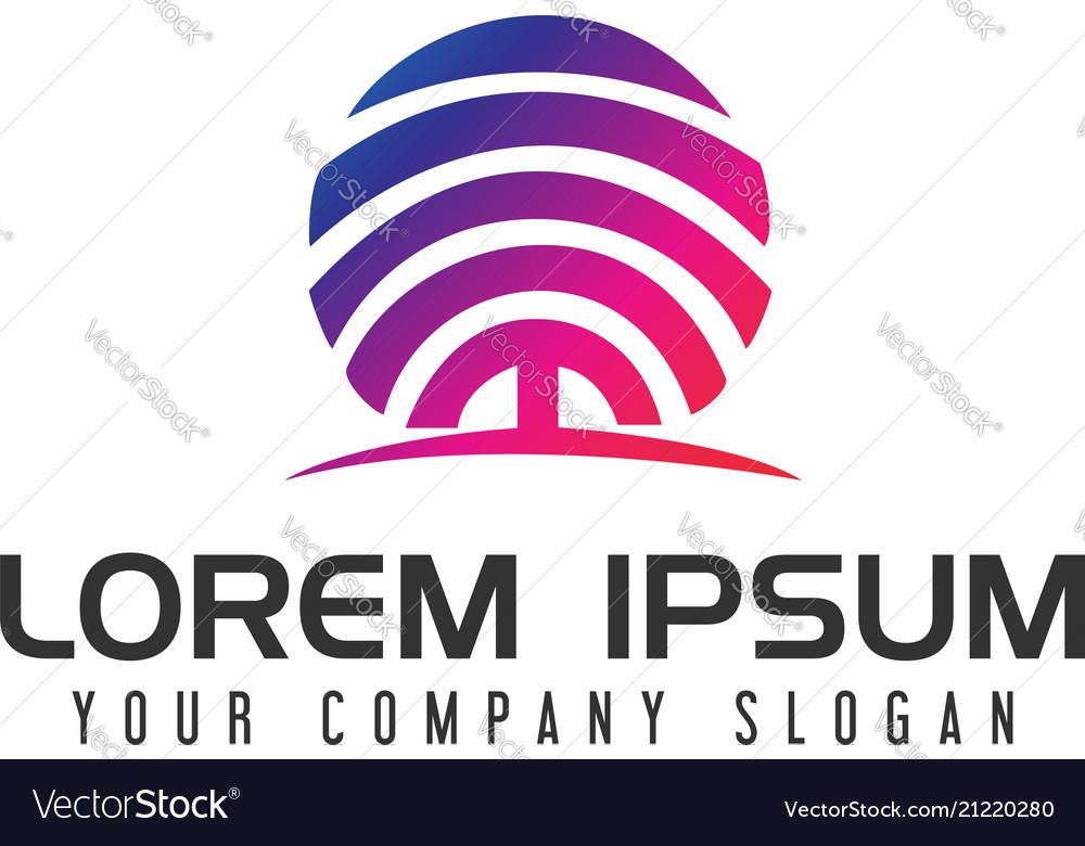 Tree media logo design concept template