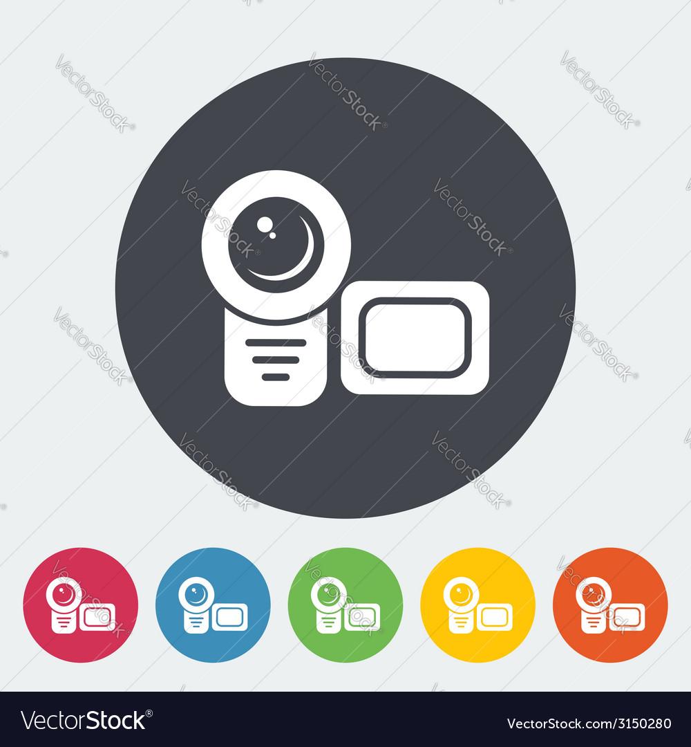 Video camera single flat icon
