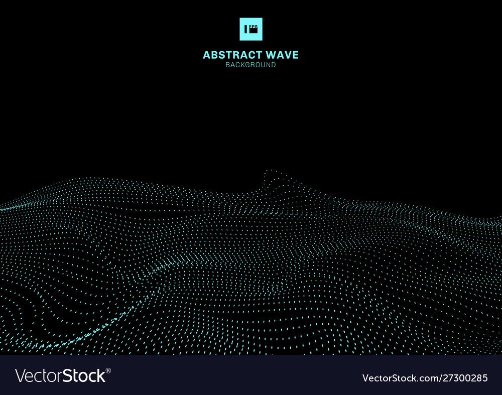 Abstract blue dynamic wave particles on black