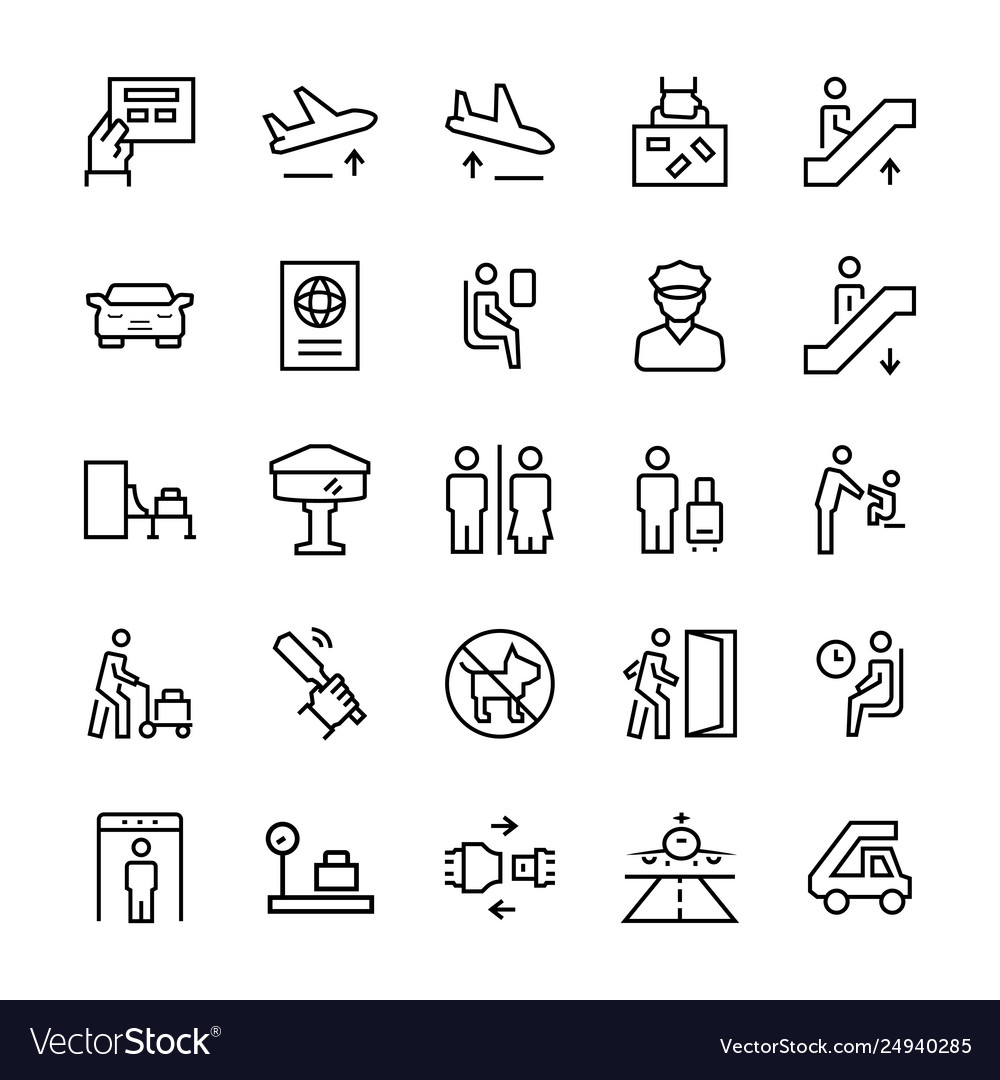 Airport icons in thin line style symbols