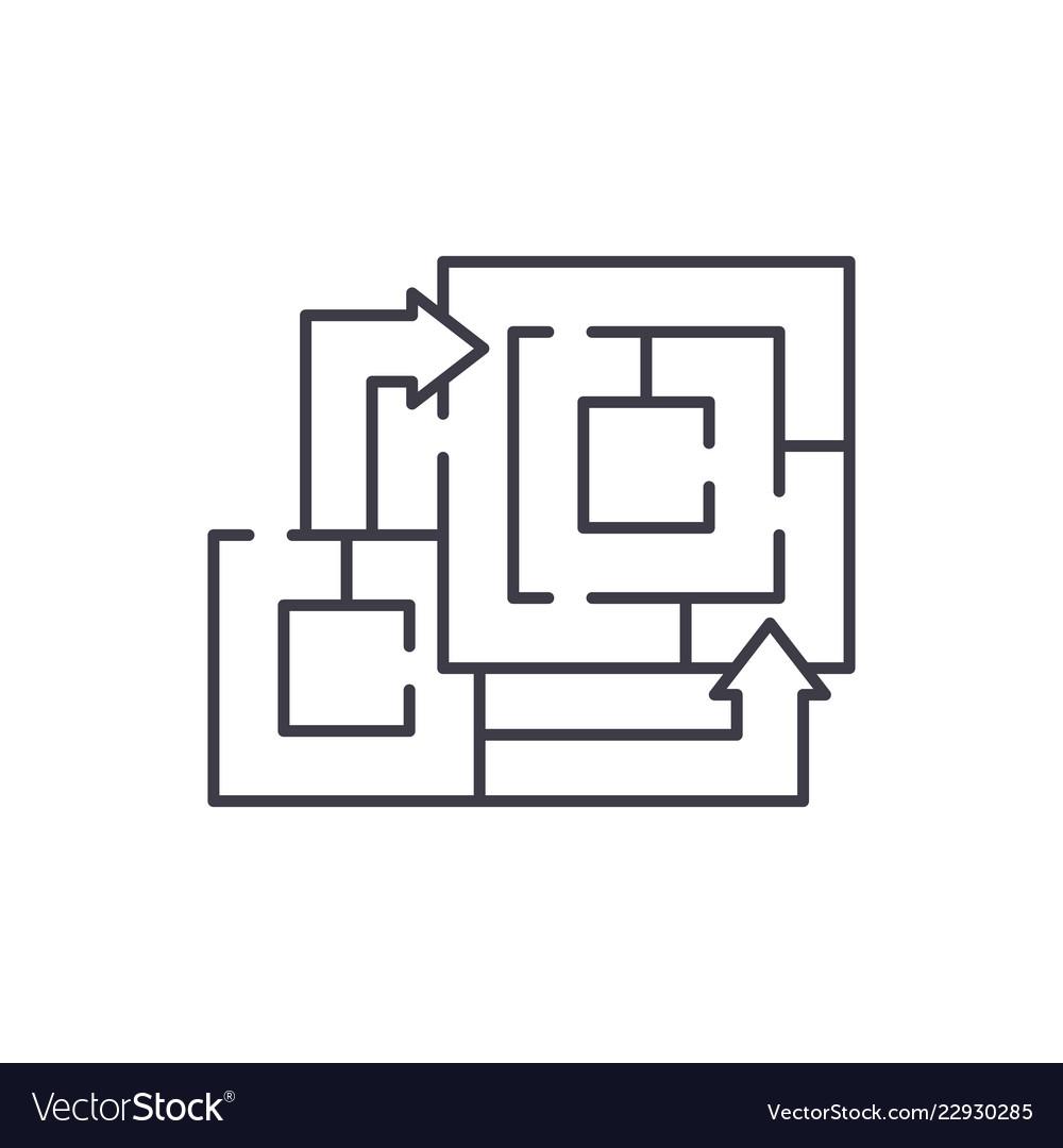 Algorithm of the game line icon concept algorithm