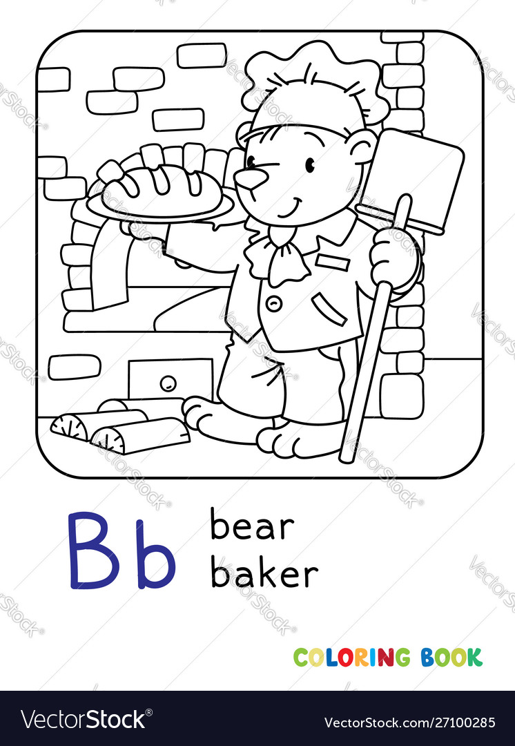 Bear baker abc coloring book alphabet b