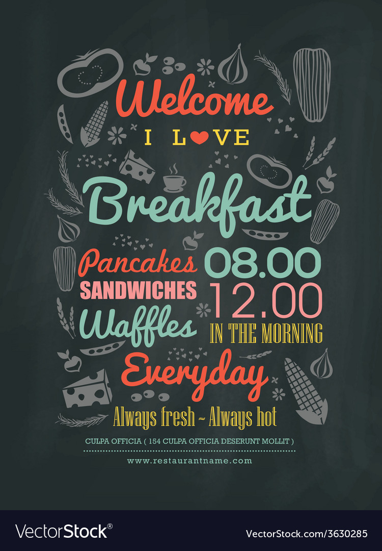 Well known Breakfast cafe Menu typography on chalk board Vector Image LM25