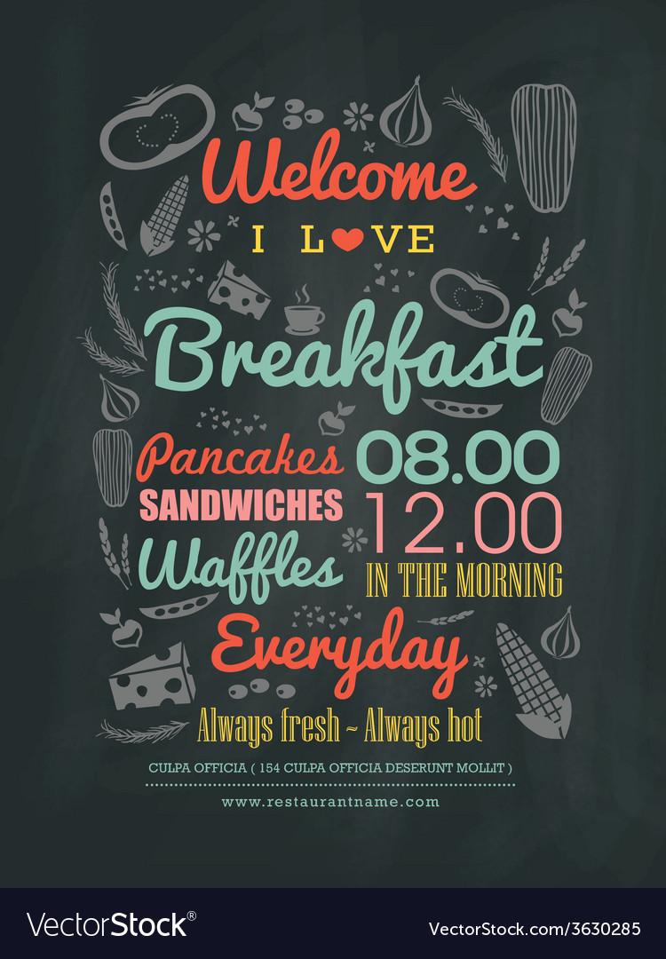 Breakfast cafe Menu typography on chalk board