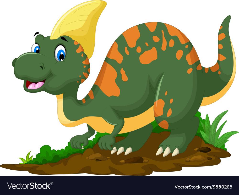 Cute Dinosaur Parasaurolophus cartoon posing