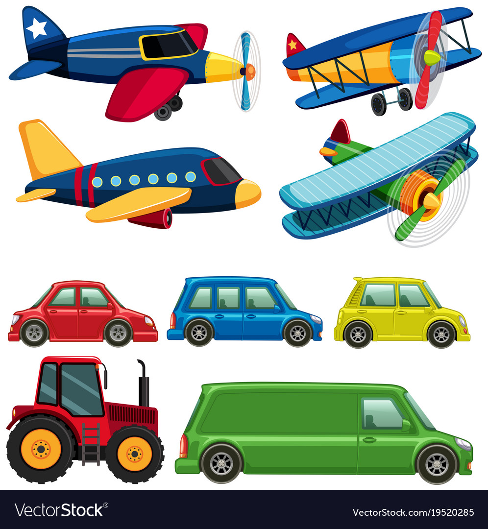 Different Types Of Vehicles >> Different Types Of Vehicles On White Background Vector Image