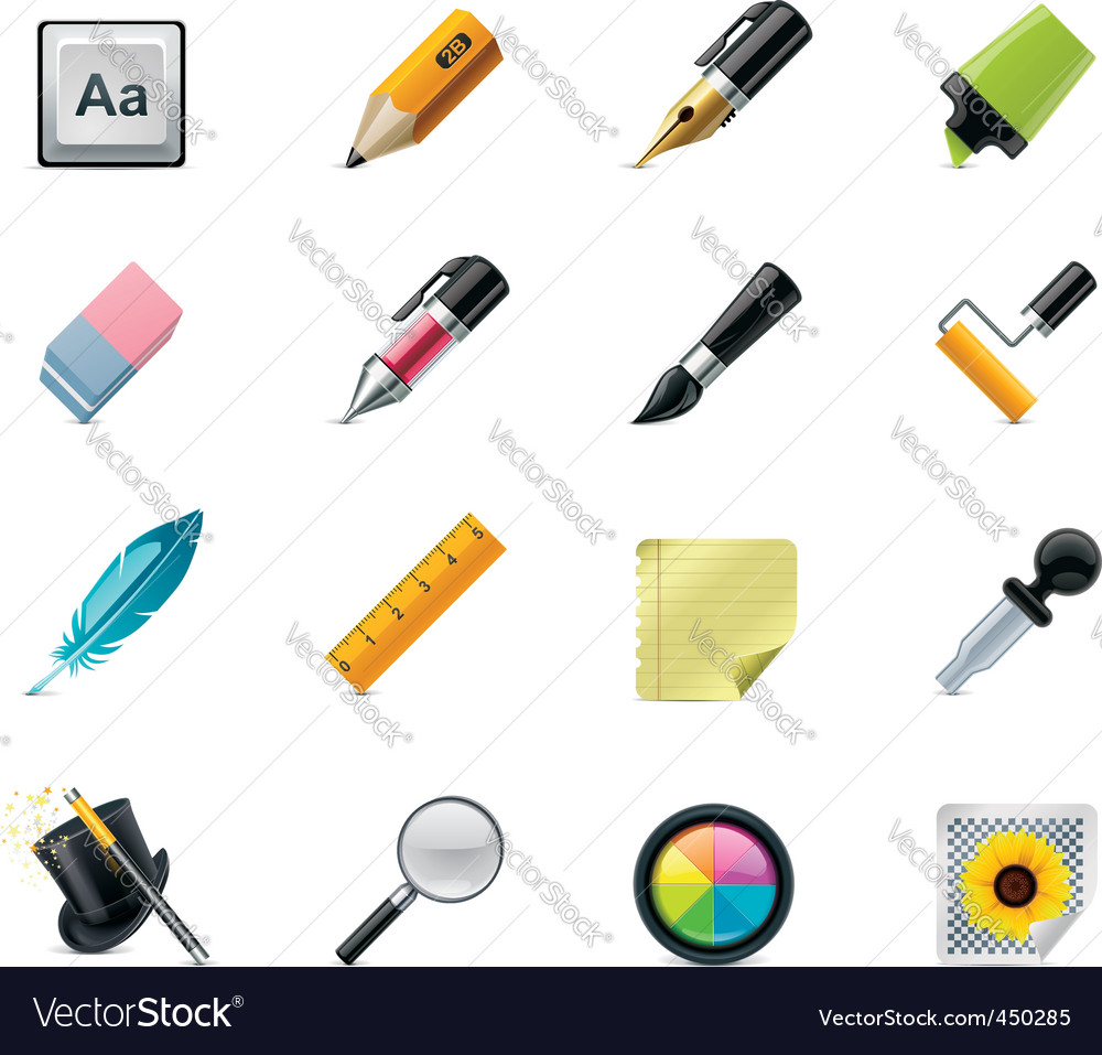 Drawing writing tools icons