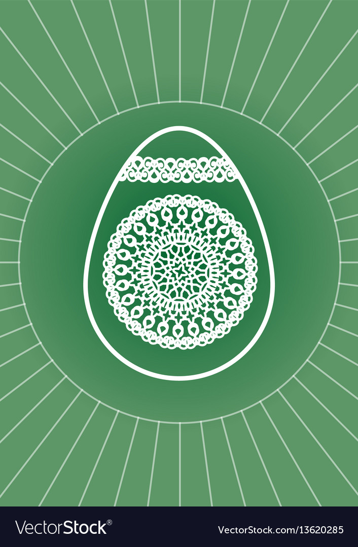 Easter egg decoration with white line drawing on vector image