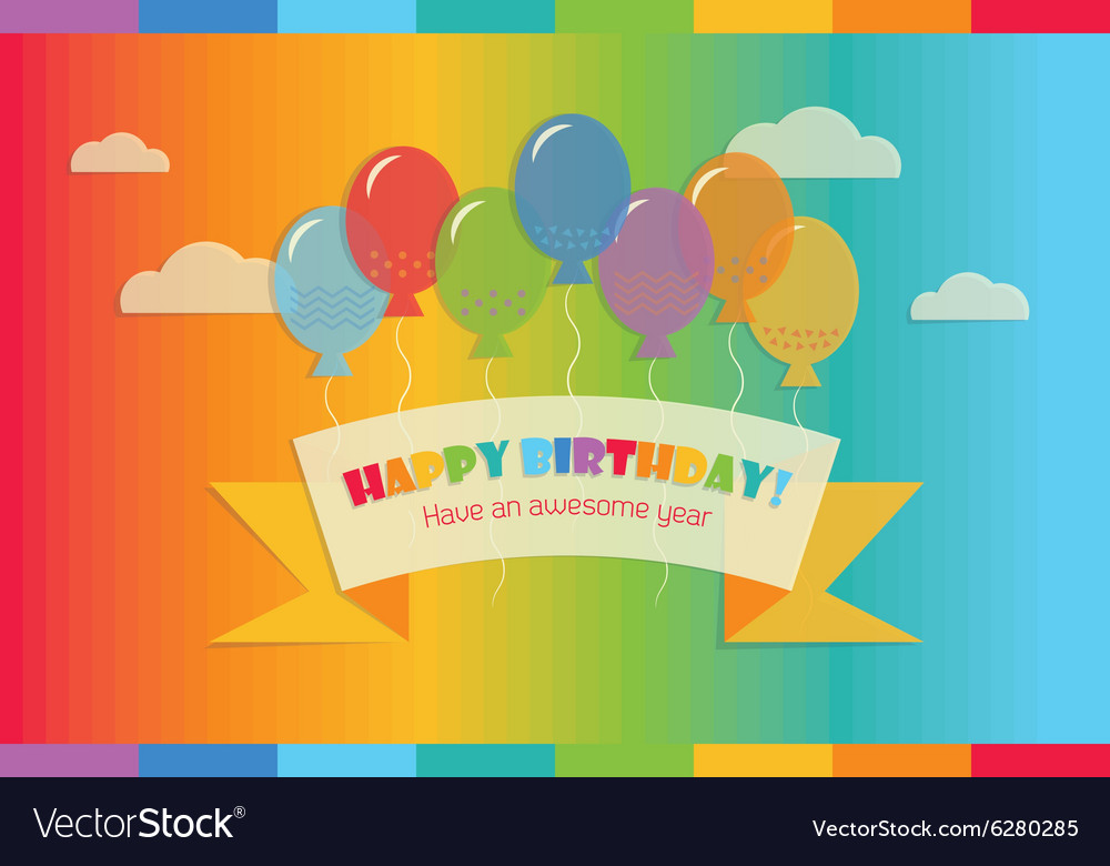 Floating happy brithday message vector image