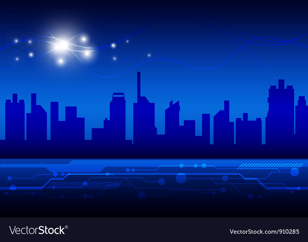 High technology city vector image