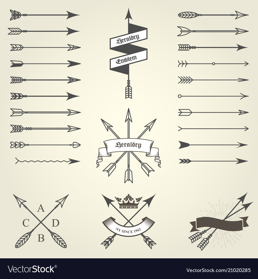 Set emblems and blazons with arrows heraldic