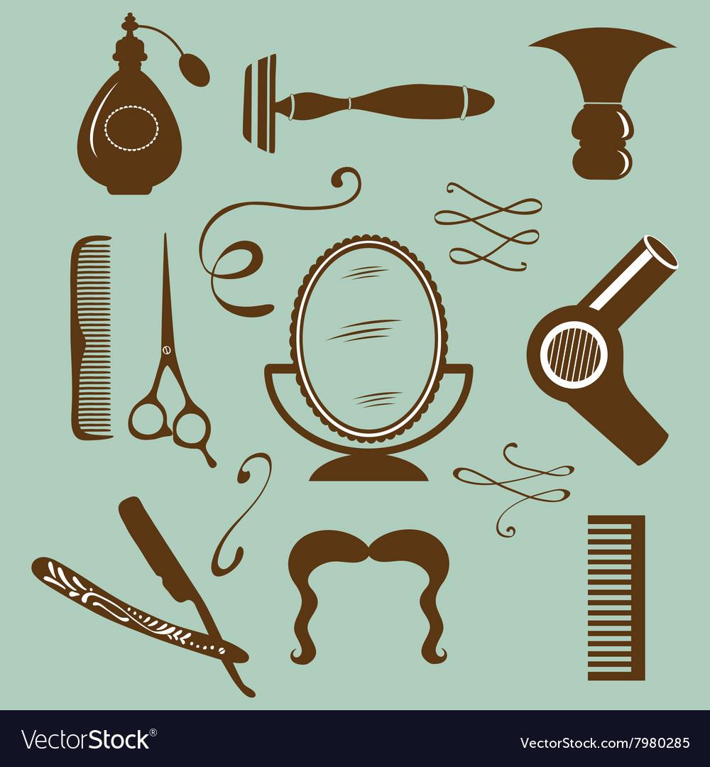 Set of vintage barber shop and hairdresser