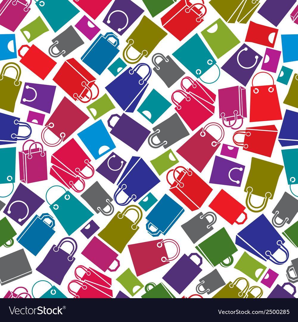 Shopping bags seamless background icon set