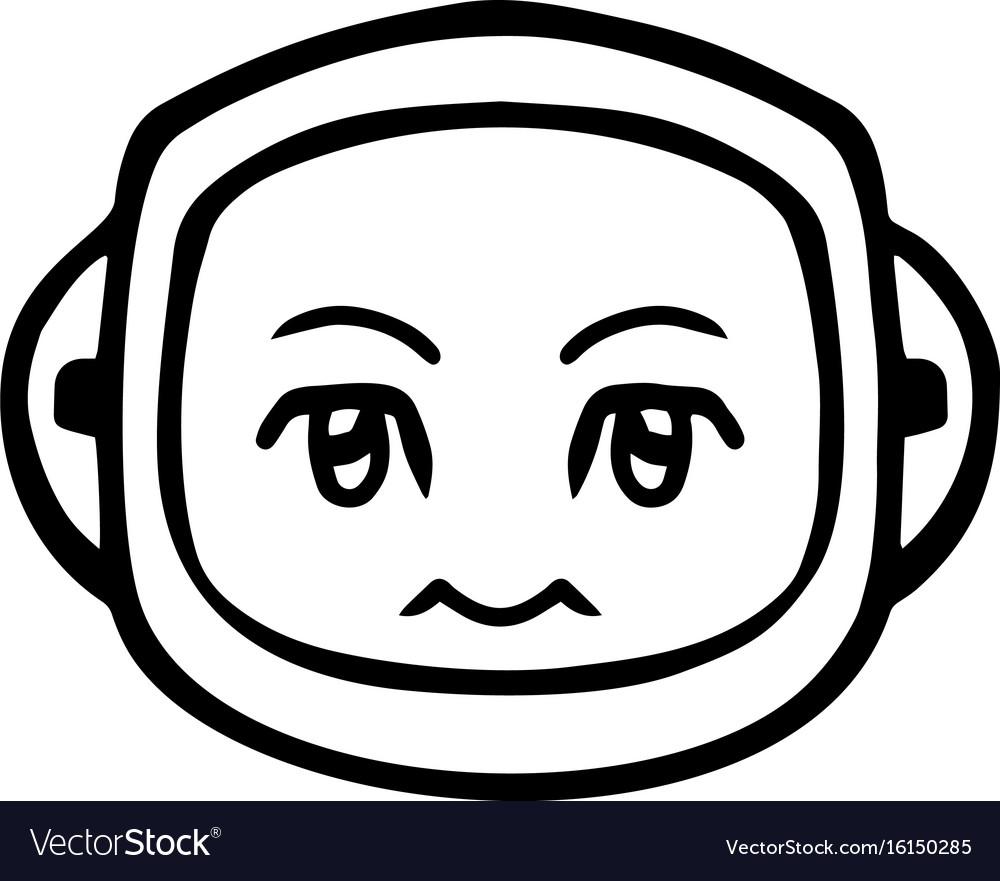 Thin line silence face icon vector image