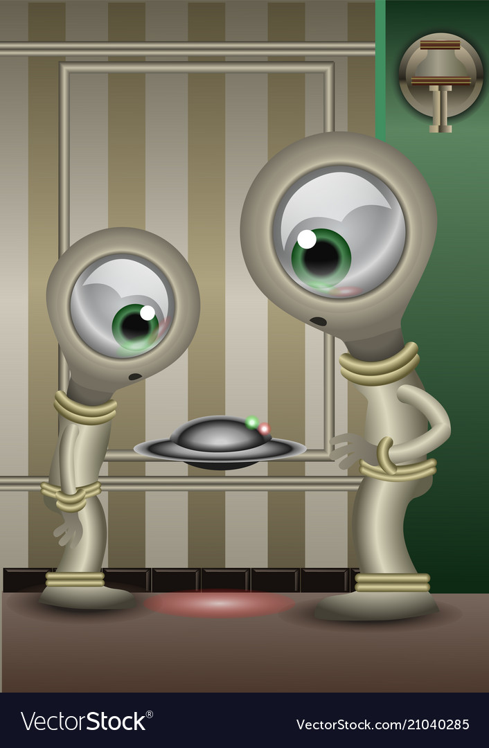 Two aliens checking a little fliying disk like a