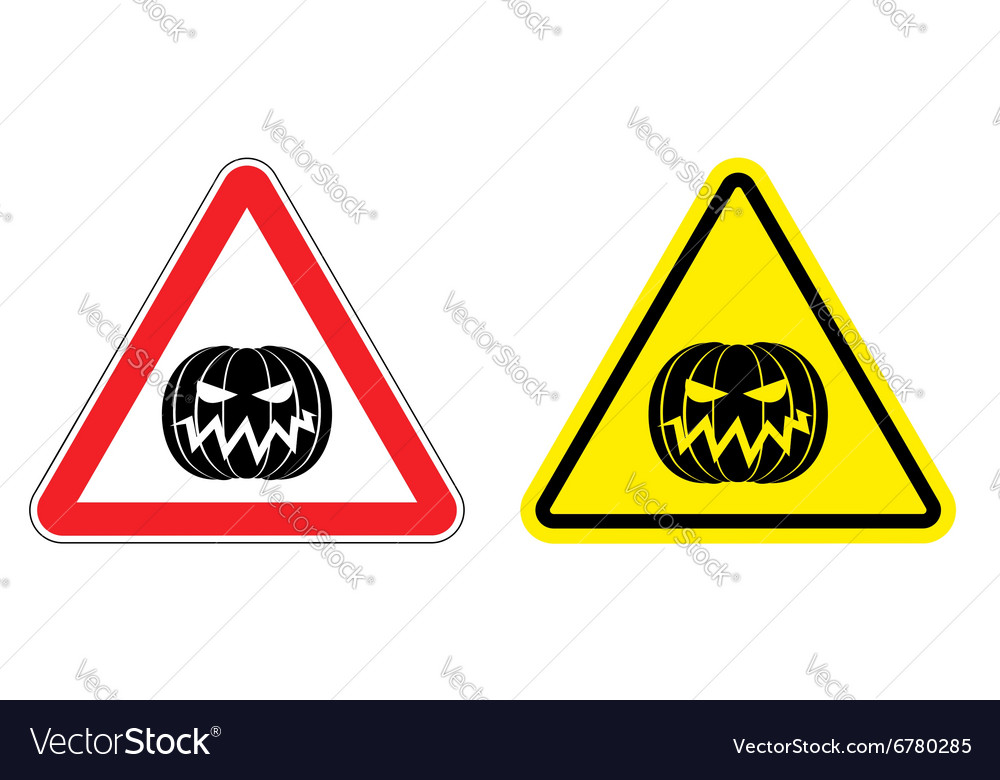 Warning sign attention Halloween Hazard yellow