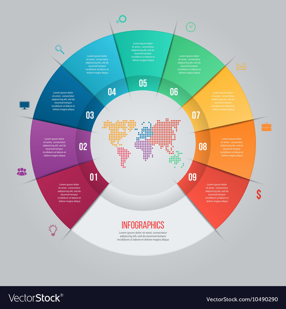 9 Options Pie Chart Template For Graphs Royalty Free Vector