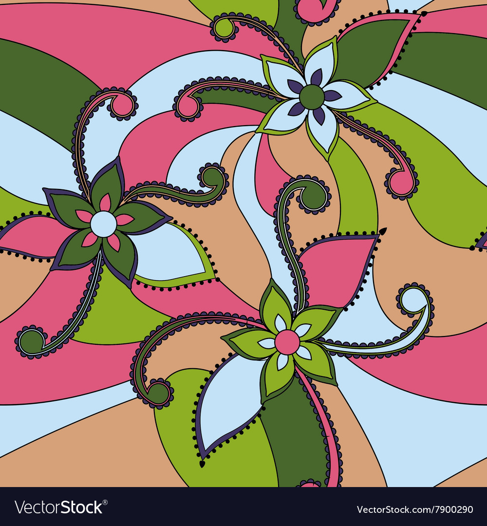 Abstract flowers colorful vector image