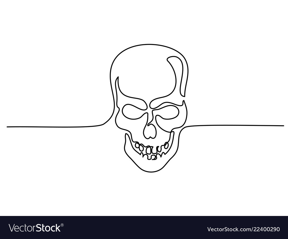 Abstract human skull continuous one line drawing