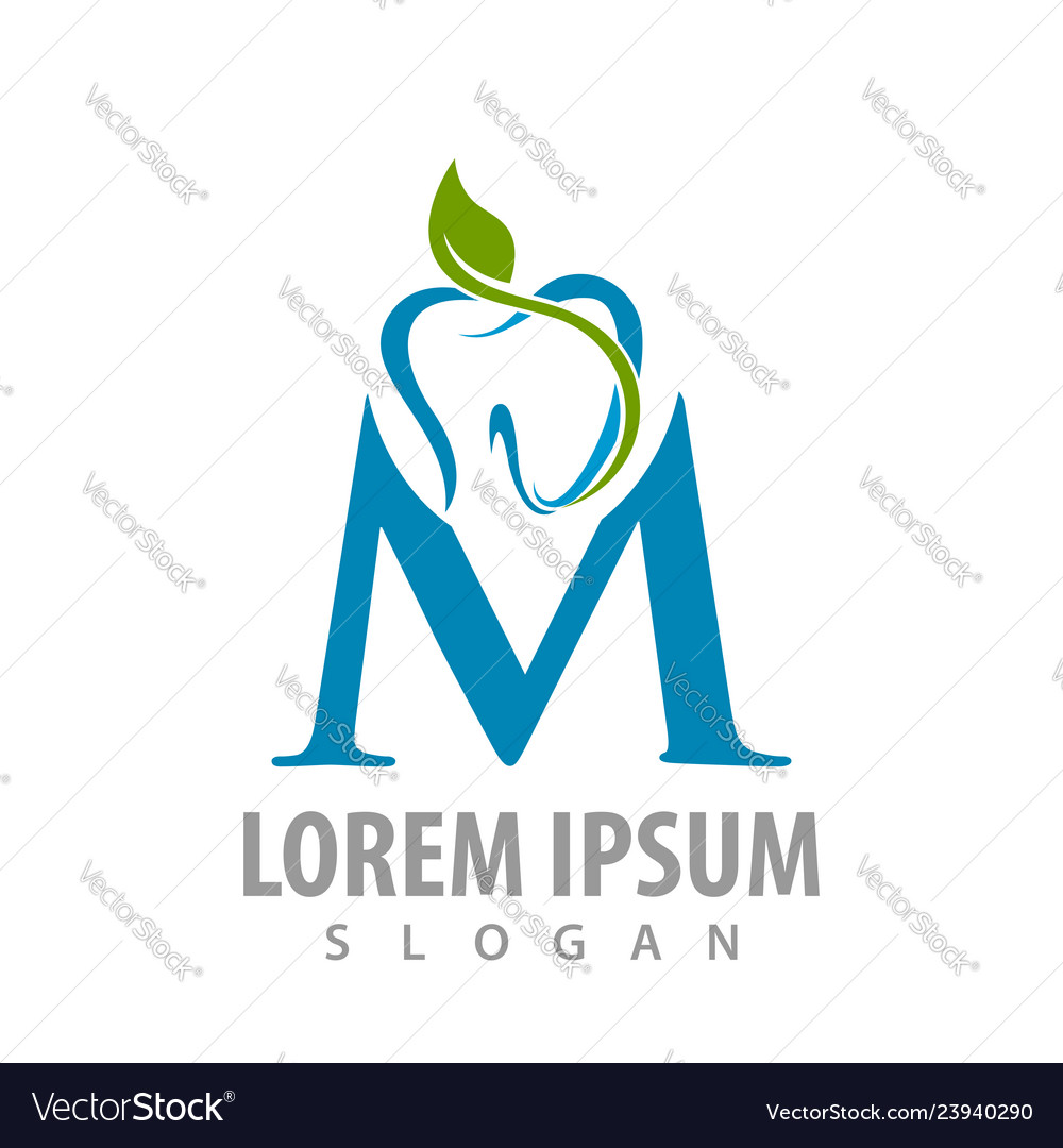 Abstract tooth leaves with m letter logo concept