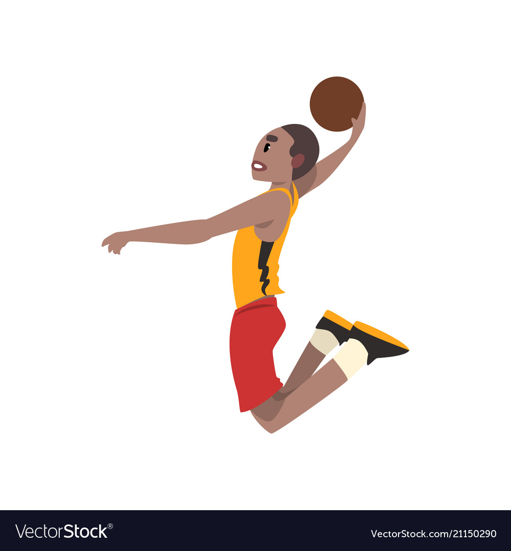 Basketball player athlete in uniform jumping with