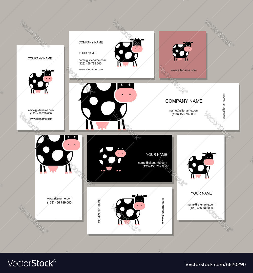 Business cards design with funny cow Royalty Free Vector