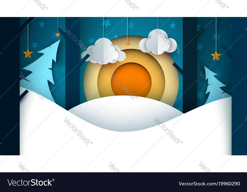 Cartoon paper landscape fir moon cloud star