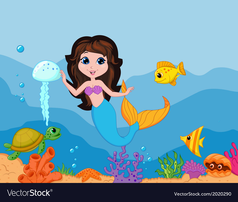 Cute mermaid cartoon waving hand vector image