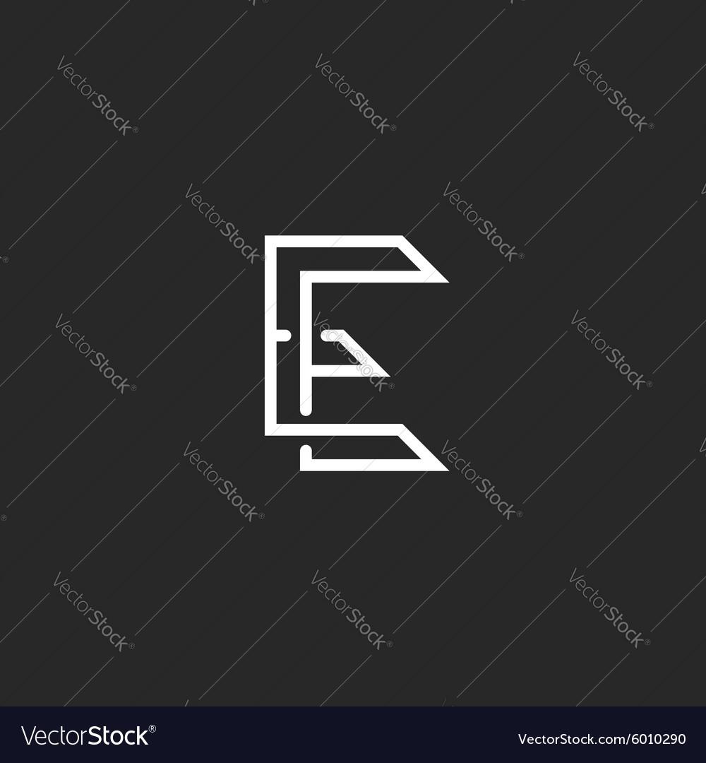 Hipster E letter logo monogram crossing outline