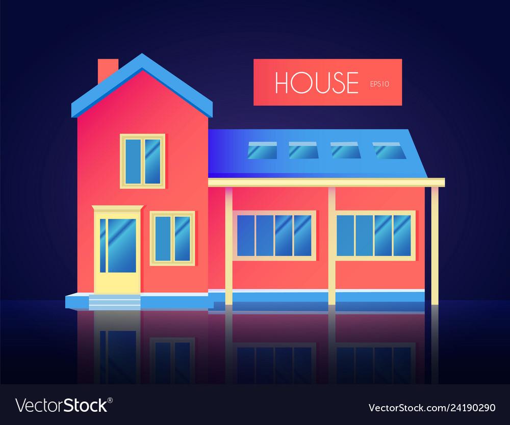 House facade building front view cottage concept