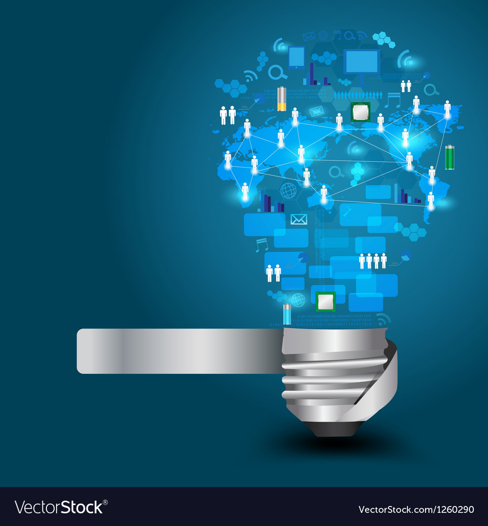 Light bulb with technology business Network vector image