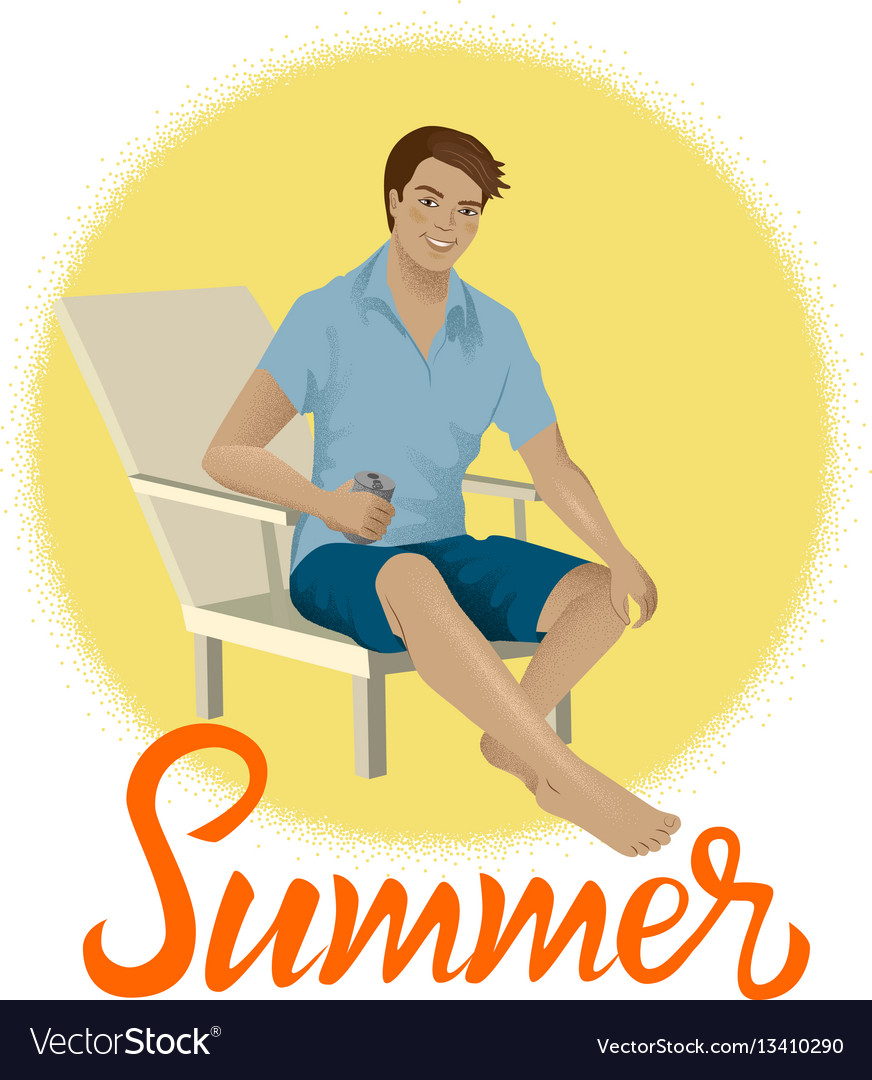 Man Sitting On A Beach Chair Royalty Free Vector Image