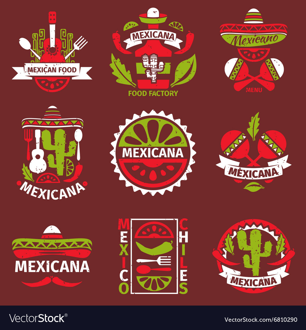 Mexican food grunge rubber stamps