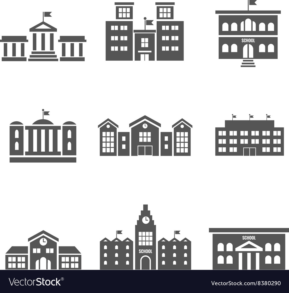 School building icons vector image