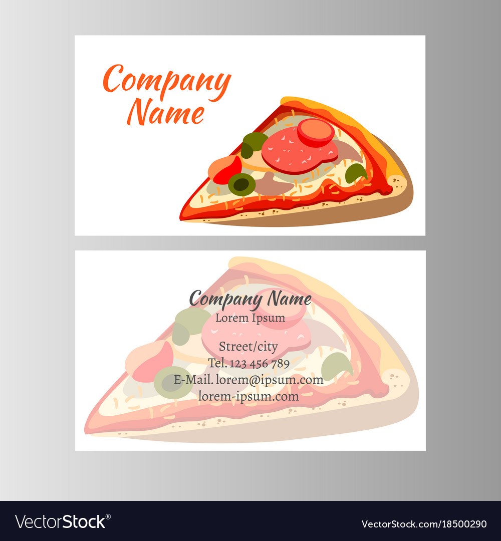 Set of business cards design with pizza royalty free vector set of business cards design with pizza vector image colourmoves