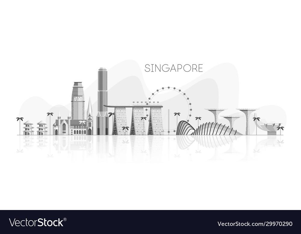 Skyline singapore white shades grey reflection