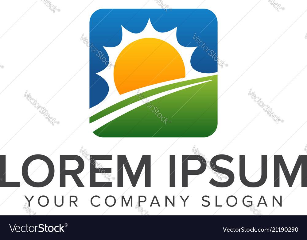 Sun natural lanscaping logo design concept