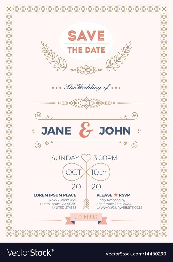 Vintage wedding invitation card template
