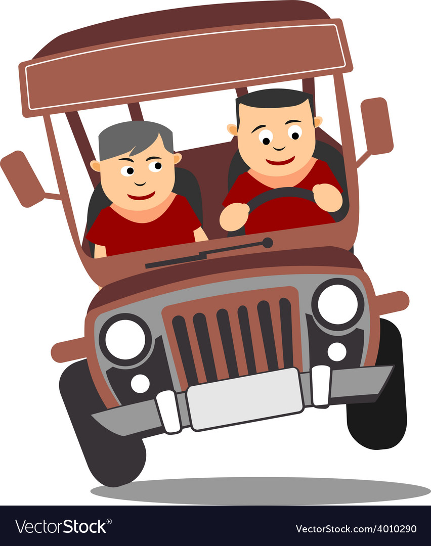 Young Adult Driving Philippine Jeepney Royalty Free Vector