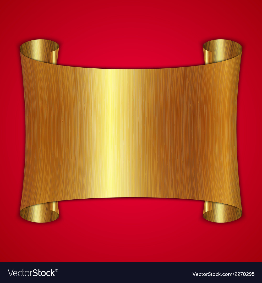 Abstract gold award scroll plate on red background