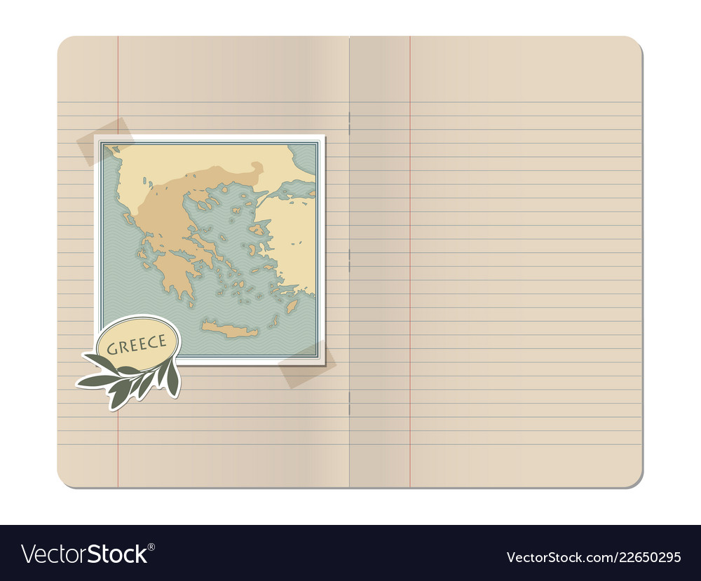 Greece Map Blank.Blank Stapled Lines Notebook With Map Of Greece Vector Image