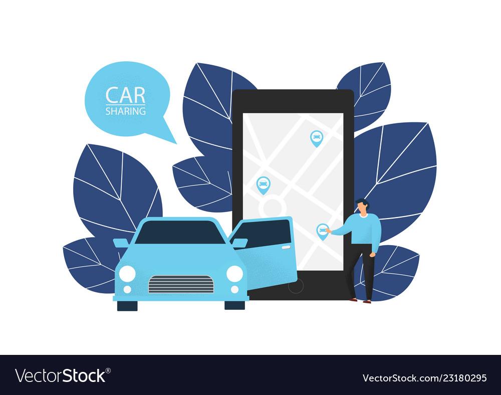 Car sharing man orders a car